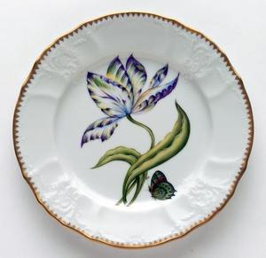 Old Master Tulips ~ Yellow, Green, Purple & Blue Tulip Salad Plate by Anna Weatherley