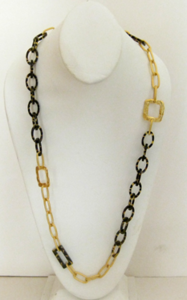 Handcast Gold and Tortoise Shell Chain Necklace