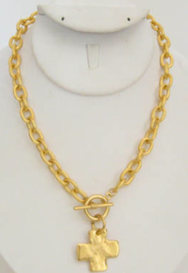 Handcast Gold Toggle Cross Necklace