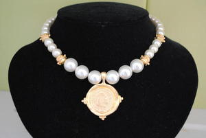 Handcast Gold Coin Pearl Necklace