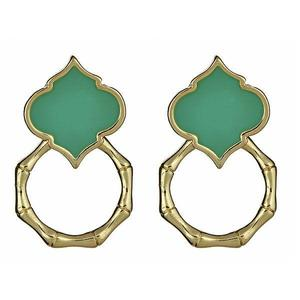 Aqua Bamboo Spade Earrings