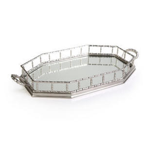 Octagonal Pewter Mirrored Tray with Handles