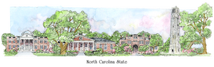 Patsy Gullett N.C. State Sculptured Watercolor