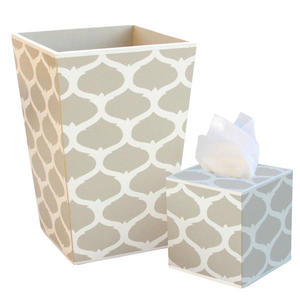 Wooden Wastebasket and Tissue Box Set