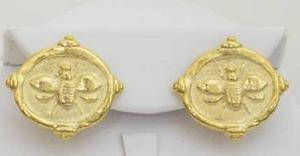 Handcast Gold Bee Intaglio Post Pierced Earrings
