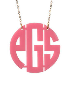 Acrylic Block Monogrammed Necklace - Medium