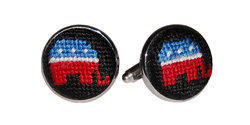 Smathers and Branson Needlepoint Republican Cufflinks