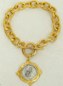 Handcast Gold Bracelet with Silver Initial