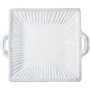 Incanto White Stripe Square Handled Platter