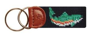 Smathers & Branson Navy Rainbow Trout Needlepoint Key Fob