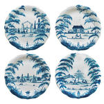 Country Estate Delft Blue Party Plates Set/4
