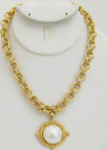 Handcast Gold Necklace w/ Pearl
