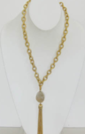 Handcast Gold and Stone Tassel Necklace