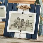 Beveled Rope Large Navy & White Frame