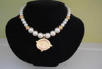 Handcast Gold Bee Intaglio Pearl Necklace