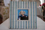 Blue and White Wooden Photo Frame