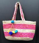 Woven Tote Bag with Tassel - Pink