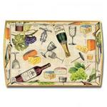 Wine & Cheese Decoupage Wooden Tray