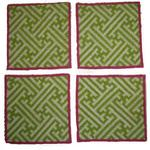 Green Trellis Needlepoint Coasters - Set of 4