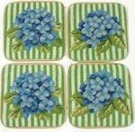 Hydrangea Needlepoint Coasters - set of 4