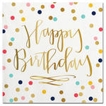 Happy Birthday gold foil beverage napkin