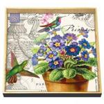 Primrose Hummingbirds Square Decoupage Wooden Tray